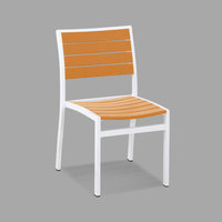POLYWOOD A100-13TA Tangerine Euro Stackable Dining Height Side Chair with Satin White Frame