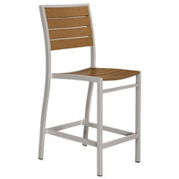 POLYWOOD A101FASTE Teak Euro Counter Height Side Chair with Textured Silver Frame