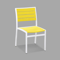 POLYWOOD A100-13LE Lemon Euro Stackable Dining Height Side Chair with Satin White Frame