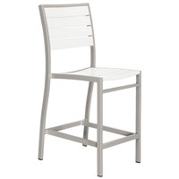 POLYWOOD A101FASWH White Euro Counter Height Side Chair with Textured Silver Frame
