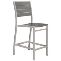 POLYWOOD A101FASGY Slate Grey Euro Counter Height Side Chair with Textured Silver Frame