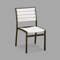 POLYWOOD A100-16WH White Euro Stackable Dining Height Side Chair with Textured Bronze Frame