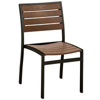 POLYWOOD A100FABTE Teak Euro Stackable Dining Height Side Chair with Textured Black Frame