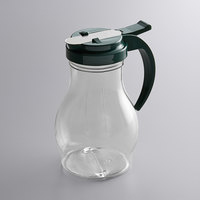 Vollrath 1414-191 Dripcut® 16 oz. Clear Polycarbonate Teardrop Syrup Server with Vista Green Top