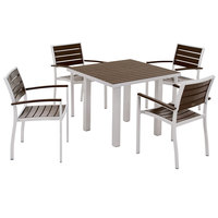POLYWOOD PWS118-1-11MA Mahogany Euro 36 inch Square Dining Height Table with Textured Silver Frame and 4 Chairs