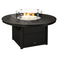 POLYWOOD CTF48RBL Black 48 inch Round Fire Pit Table