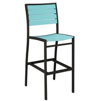 POLYWOOD A102FABAR Aruba Euro Bar Height Side Chair with Textured Black Frame