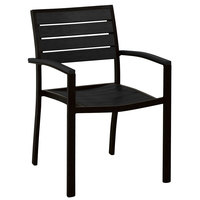 POLYWOOD A200FABBL Black Euro Stackable Dining Height Arm Chair with Textured Black Frame