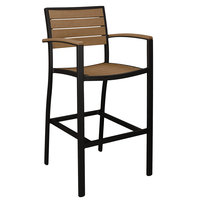 POLYWOOD A202FABTE Teak Euro Bar Height Arm Chair with Textured Black Frame