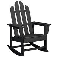 POLYWOOD ECR16BL Black Long Island Rocking Chair