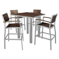 POLYWOOD PWS158-1-11MA Mahogany Euro 36 inch Square Bar Height Table with Textured Silver Frame and 4 Chairs