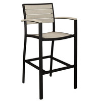 POLYWOOD A202FABSA Sand Euro Bar Height Arm Chair with Textured Black Frame