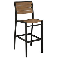 POLYWOOD A102FABTE Teak Euro Bar Height Side Chair with Textured Black Frame