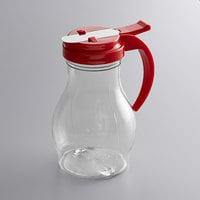 Vollrath 1414-02 Dripcut® 16 oz. Clear Polycarbonate Teardrop Syrup Server with Red Top