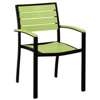 POLYWOOD A200FABLI Lime Euro Stackable Dining Height Arm Chair with Textured Black Frame