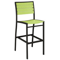 POLYWOOD A102FABLI Lime Euro Bar Height Side Chair with Textured Black Frame