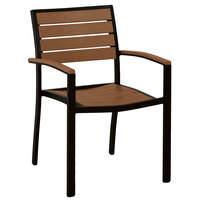 POLYWOOD A200FABTE Teak Euro Stackable Dining Height Arm Chair with Textured Black Frame