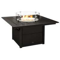 POLYWOOD CTF42SBL Black 42 inch Square Fire Pit Table