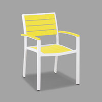 POLYWOOD A200-13LE Lemon Euro Stackable Dining Height Arm Chair with Satin White Frame