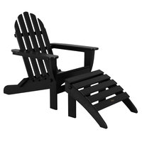 POLYWOOD PWS136-1-BL Black Classic Folding Adirondack Chair with Folding Ottoman