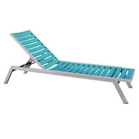 POLYWOOD AC1FASAR Aruba Euro Stackable Chaise with Textured Silver Frame