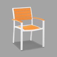POLYWOOD A200-13TA Tangerine Euro Stackable Dining Height Arm Chair with Satin White Frame