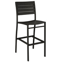 POLYWOOD A102FABBL Black Euro Bar Height Side Chair with Textured Black Frame
