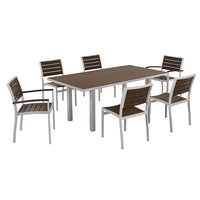 POLYWOOD PWS117-1-11MA Mahogany Euro 36 inch x 72 inch Rectangular Dining Height Table with Textured Silver Frame and 6 Chairs