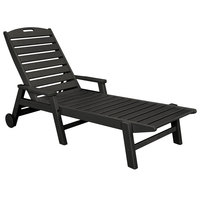 POLYWOOD NCW2280BL Black Nautical Folding Adjustable Chaise with Arms and Wheels