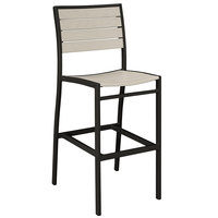 POLYWOOD A102FABSA Sand Euro Bar Height Side Chair with Textured Black Frame