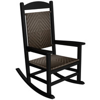 POLYWOOD R200FBLCA Cahaba Presidential Woven Rocking Chair with Black Frame