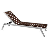 POLYWOOD AC1FASMA Mahogany Euro Stackable Chaise with Textured Silver Frame