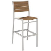 POLYWOOD A102FASTE Teak Euro Bar Height Side Chair with Textured Silver Frame