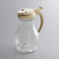 Vollrath 1414-18 Dripcut® 16 oz. Clear Polycarbonate Teardrop Syrup Server with Almond Top