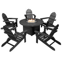 POLYWOOD PWS414-1-BL Black 48 inch Round Fire Pit Table with 5 Classic Folding Adirondack Chairs