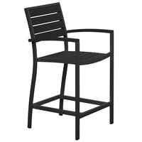 POLYWOOD A201FABBL Black Euro Counter Height Arm Chair with Textured Black Frame