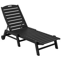 POLYWOOD NAW2280BL Black Nautical Folding Adjustable Chaise with Wheels
