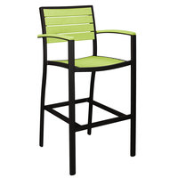 POLYWOOD A202FABLI Lime Euro Bar Height Arm Chair with Textured Black Frame
