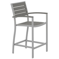 POLYWOOD A201FASGY Slate Grey Euro Counter Height Arm Chair with Textured Silver Frame