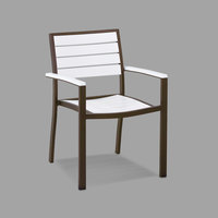 POLYWOOD A200-16WH White Euro Stackable Dining Height Arm Chair with Textured Bronze Frame