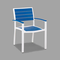 POLYWOOD A200-13PB Pacific Blue Euro Stackable Dining Height Arm Chair with Satin White Frame