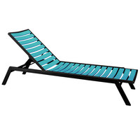 POLYWOOD AC1FABAR Aruba Euro Stackable Chaise with Textured Black Frame