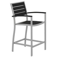 POLYWOOD A201FASBL Black Euro Counter Height Arm Chair with Textured Silver Frame