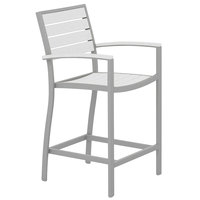 POLYWOOD A201FASWH White Euro Counter Height Arm Chair with Textured Silver Frame