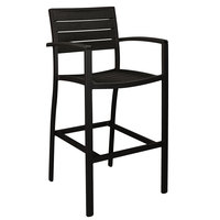 POLYWOOD A202FABBL Black Euro Bar Height Arm Chair with Textured Black Frame