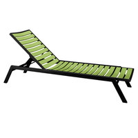 POLYWOOD AC1FABLI Lime Euro Stackable Chaise with Textured Black Frame