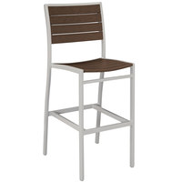 POLYWOOD A102FASMA Mahogany Euro Bar Height Side Chair with Textured Silver Frame