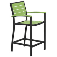 POLYWOOD A201FABLI Lime Euro Counter Height Arm Chair with Textured Black Frame