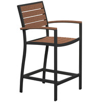 POLYWOOD A201FABTE Teak Euro Counter Height Arm Chair with Textured Black Frame