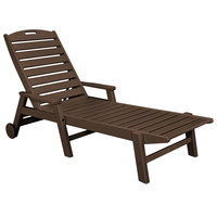 POLYWOOD NCW2280MA Mahogany Nautical Folding Adjustable Chaise with Arms and Wheels